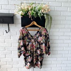 Angie Floral Romper With Cinched Waist & Laces Up